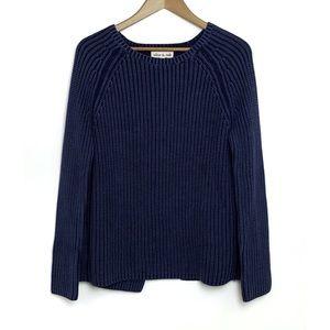 NWT OLIVE & OAK Deep Navy Aiden Split Back Sweater